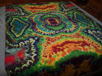 Hand-dyed Tie Dye Wallhang Tapestry - Vibrant Multi-Pattern Galaxy Eye Mandala