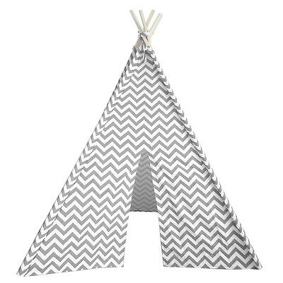 New! Kids Teepee - Indian Tepee Fort For Children Play Room - Gray Chevron