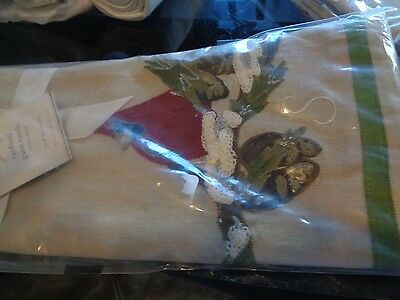 "POTTERY BARN WINTER RED CARDINAL EMBROIDERED GUEST TOWELS mono ""S"" Christmas"