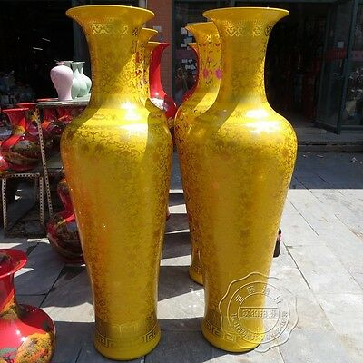 "56"" China Jingdezhen refined porcelain emperor yellow arabesquitic Vases pair"