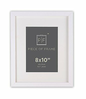 8x10 White Photo Frame for Wall Hanging / Table Top,with Ivory Mat For 5x7 photo