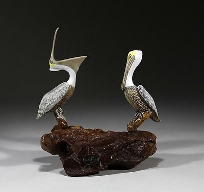 PELICAN DUO New direct from JOHN PERRY 7in tall Sculpture Figurine on Wood