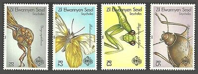 Zes Zil Elwagne Sesel 1988 Insects Beetles Butterfly Mantid Set Mnh