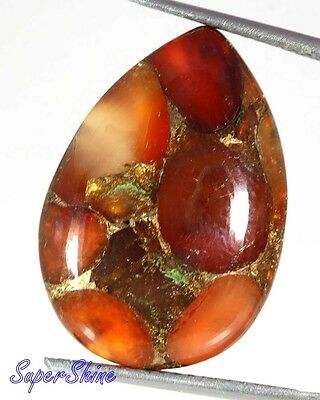 16.70Cts. NATURAL ORANGE COPPER CARNELIAN PEAR SHAPE GEMSTONE AFRICA 11965