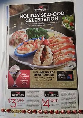 One Sheet of Red Lobster coupons, Exp.01/17/2017 Save Up To $7!