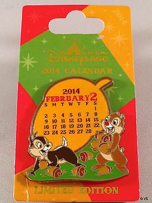 Disney Pin - Chip N Dale February 2014 Calendar Acorns LE 500 HKDL