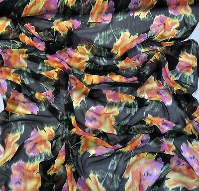 SALE Versace authentic pure silk crepe chiffon fabric Multicolor Made in Italy.