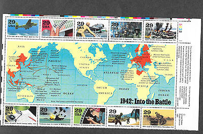"Stamps, US Scott 2697 ""WW II 1942 ""Into Battle"" 10 Stamp Sheet M/NH VF"