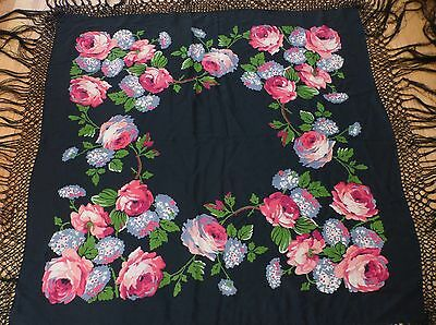Very Pretty Victorian Silk Shawl Tablecloth -  Pink Roses Flowers