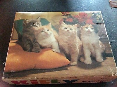 Vintage Kitty Cat Kitten Picture Puzzle Cubes