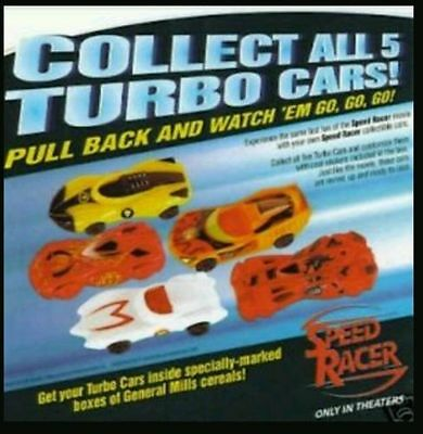 2008 General Mills Warner Bros. Speed Racer Turbo Cars *Complete Free Shipping*