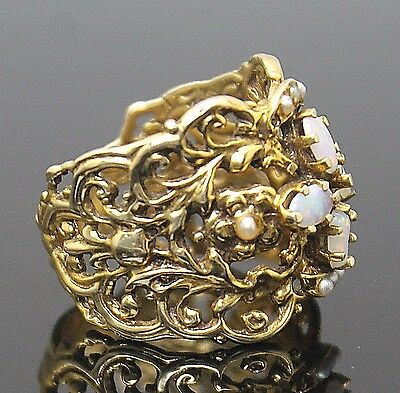 Victorian Era Genuine Opal Pearls Open Swirl Design Solid 14K Yellow Gold Ring 8