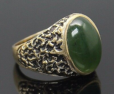 Superb Vintage Oval Genuine Nephrite Jade Solid 14K Yellow Gold Ring Size 9.25