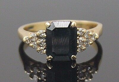 Delicate Vintage Genuine Sapphire Diamonds Accent Solid 14K Yellow Gold Ring S 7