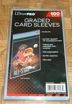 (100) Ultra Pro Graded Card Sleeves with Resealable Lip (Fits PSA,Beckett +more)
