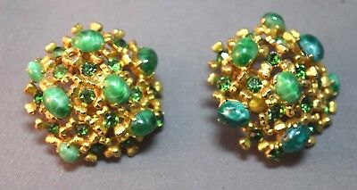 RARE Christian Dior Vintage Gold Tone Filigree and Faux Jade Cabochon Earrings!