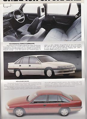 1988 Holden VN Commodore sedan and wagon range Sales Brochure. Mailer style.