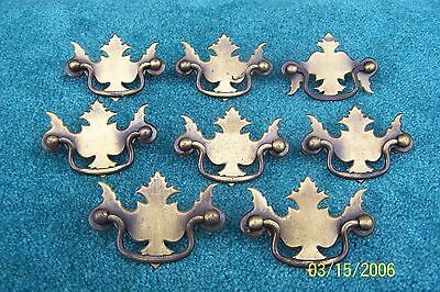Eight 8 Antique Brass Colored Drawer Pulls