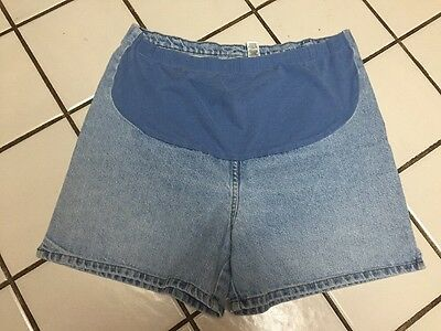 Duo Maternity Blue Denim Jean Shorts Front Knit Waistband Sz 16