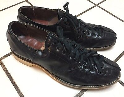 HYDE Mid Century Vintage Bowling Shoes Black Leather Mens 9