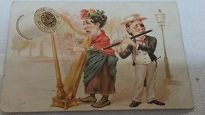 J P COATS 1890 Victorian Trade Card for thread Cartoon style Lady & Man Musical