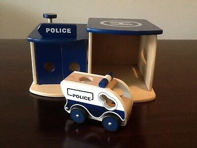 Wooden Toy Police Station and Police Car