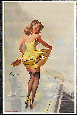 """1960's Elvgren Authentic Pin-Up Poster Art Print """"Dampened Doll"""" 11x17"""