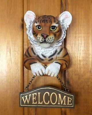 Bengal Tiger Welcome Sign Wild Cat Collectible Wall Hanging Home Decor