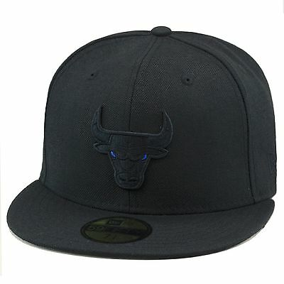 418a1ae68bcaa9 New Era Chicago Bulls Fitted Hat BLACK BLUE EYE For Jordan Retro 11 Space  Jam