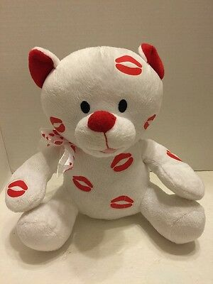 Light Up Talking Teddy Bear White With Lips Kisses Light And Sound