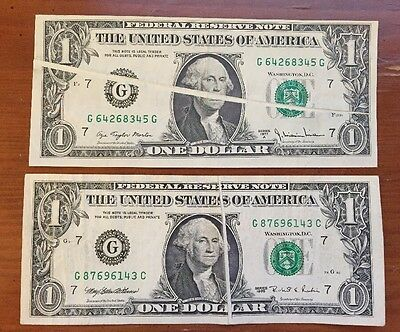 Two $1 Gutter Error Notes (8345G/6143C)