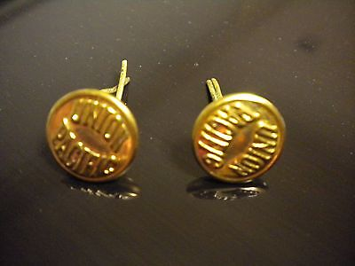 2 Hard to Find Union Pacific Railway Brass Conductor Hat Cap Button Brads