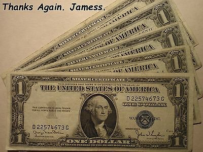 5 Series 1935 Blue Seal Silver Certificates (1935 D, 1935 F & Three 1935 E)