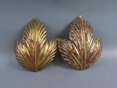 (2) Vintage Italian Mid-Century Leaf Single Light Gilt Metal Wall Light Sconces