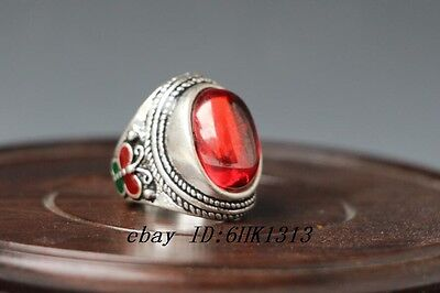 Tibet-silver OLD INLAY(red)ZIRCON WONDERFUL CLOISONNE HAND CARVED RING