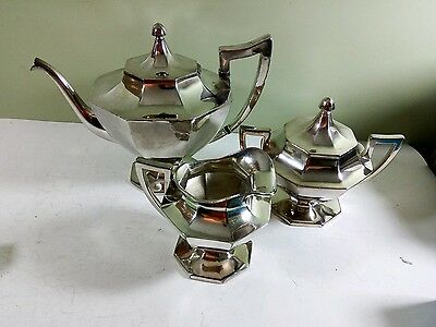 Wilcox Silver Plate art deco set 3 pcs tea pot sugar creamer 1951 Made in USA