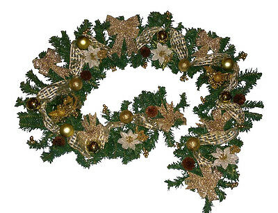 7ft Pre-Lit Gold Garland Christmas Decoration 40 Battery lights Fireplace Stairs