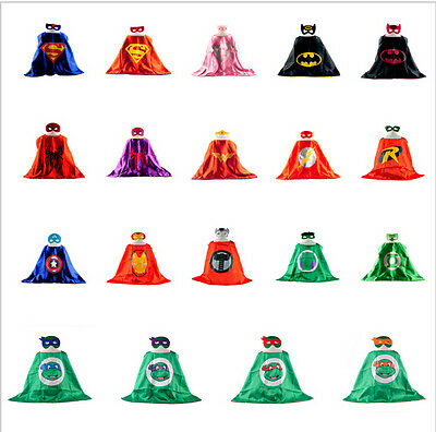 SuperHero Satin Cape Felt Mask Costume Fancy Dress Up Play Party FUN Kids
