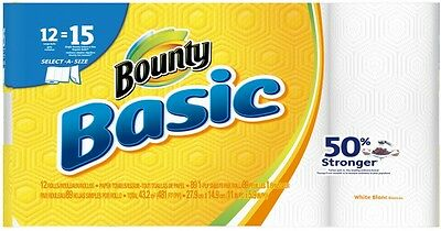 Bounty Basic 12-Count Paper Towels Strong But Affordable Quickly Absorbs