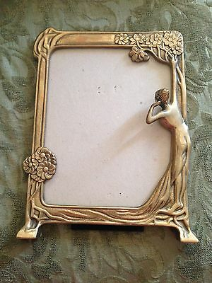 "Vintage Art Noveau Brass Picture Frame, Lady with Flowers 9.5""  X  12"""