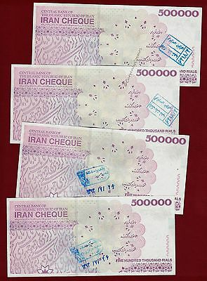 4 x 500,000 Iran Rials UNC Banknotes 500000 ~ 2 Million ~ Currency Cheque ~ 4PCS