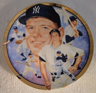 """The Hamilton Collection China Plate 2069 O """"The Legendary Mickey Mantle"""""""