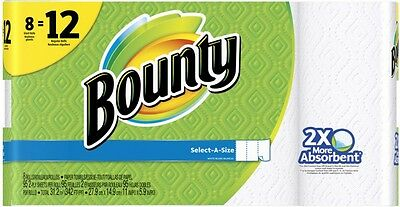 New Bounty 8-Count Paper Towels Trap and Lock Technology Durable Design White