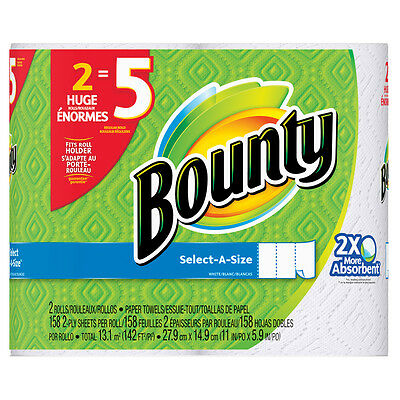 Bounty 2-Count Paper Towels White Bounty Quickly Absorb 5 Regular Rolls