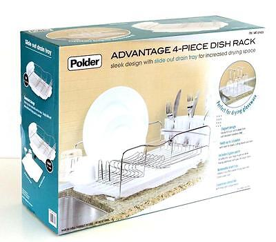 4Pc Polder Kitchen Stainless Steel Dish Drying Rack Cutlery Drainer Dryer Tray1