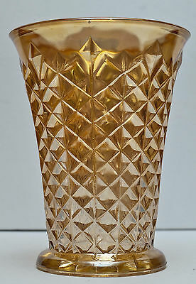 "Jeannette Celery Vase 3621 Marigold Diamond and Pinwheel Pattern 7"" - Beautiful!"