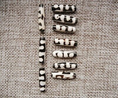 Vinage Mid Century African Ornate Beads - Tubes in Dark Brown and Bone Colors