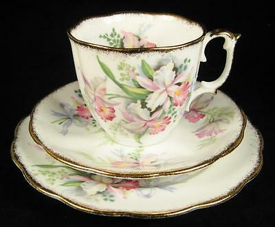Roslyn China 'Sweet Romance' Pink Orchids Fine Bone China Cup/Saucer/Plate Trio
