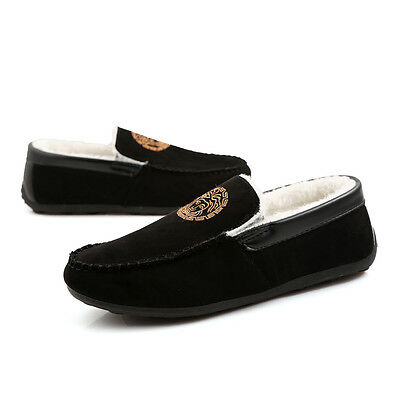 Mens Fur Lined Loafer Slip On Cosy Winter Warm Slipper Suede Shoes Moccasin OA8