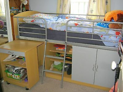 Single bed with pull out desk and storage underneath